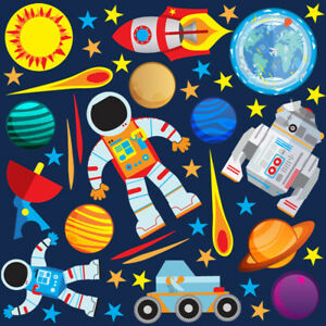 Space Rocket Ship Stars Planets Nursery Wall Stickers Kids Vinyl Wall Decals R6