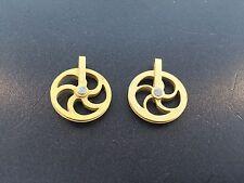 "Miniature 3/4"" Dia. Fancy Vienna Regulator Solid Brass Pulley Set of 2"