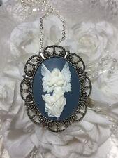 Blue GUARDIAN Angel necklace Pendant SILVER GOLD XMAS  CHERUB CAMEO WINGS Harp
