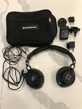 Sennheiser MM 500 X Wireless Headphones Adapters Cords Battery Charger Case 550