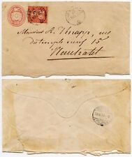 SWITZERLAND 1870 UPRATED POSTAL STATIONERY 10c + 10c