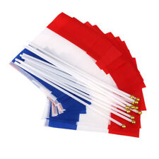 12x France Hand Waving National Flags French Small Country Banners w/ Poles