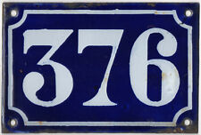 Old blue French house number 376 door gate plate plaque enamel metal sign c1900