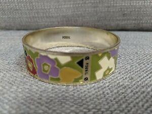 """Fossil Enamel 3/4"""" Bangle Bracelet Goldtone Multi-Colored Floral Design"""