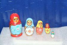"Set Of 5 Wooden Nesting Dolls; Ladies Wearing Scarfs 3-1/2"""