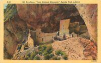 Linen Postcard AZ K193 Cliff Dwellings Tonto Natl Monument Apache Trail Curteich
