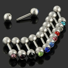 Lots 10pc Mixed Stainless Steel Ball Tongue Lip Bars Rings Barbell Body Piercing