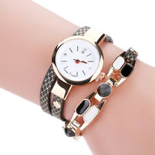 New Womens Ladies Bracelet Diamond Circle Faux Leather Watch Student Table Black