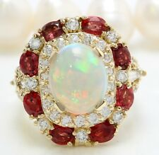 6.75 Carat Natural Opal Ruby and Diamonds in 14K Solid Yellow Gold Women Ring