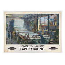 Vintage railway poster-A4-service à l'industrie paper making
