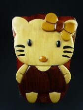 HANDCRAFTED HELLO KITTY WOODEN PUZZLE TRINKET BOX
