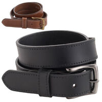 "Mens Quality Luxury Leather 30mm 1.25"" Stitched Trouser Jean Belt Black Brown"