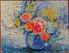 OIL PAINTING HAND PAINTED FLOWERS ROSE CANVAS ON CARDBOARD for sale by artist #2