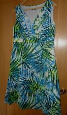 Ladies Per Una Marks & Spencer blue white & green lined cotton Dress Size 14