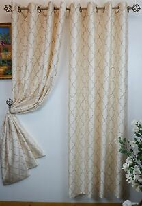 """Luxury Embroidered Faux Silk Curtain Panel With Metal Grommet 55"""" X 84"""" Hudson"""
