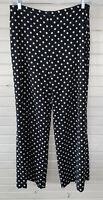 RALPH LAUREN LRL Sz 12 Wide Leg Pants Black White Polka Dot Side Zip Lined EUC