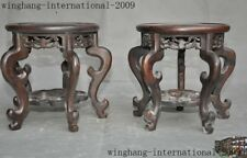 old Chinese Rosewood Wood carving Bonsai Potted plants flower pot vase Base Pair