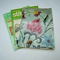 Lot of 3 Vintage Craft Magazines McCall's Stitchery, Embroidery Stitches Crewel