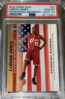 💎2003 LeBron James UPPER DECK PHENOMENAL BEGINNING GOLD RC #20 PSA 10 BGS prizm