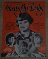 That's My Baby Dedicated to Baby Peggy Child Star 1923 Silent Movie Sheet Music