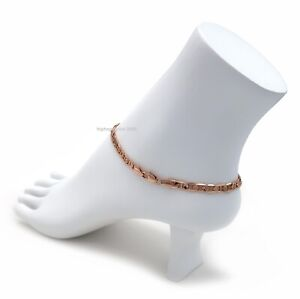 "10"" Mariner Link Chain Quality Ankle Bracelet 14K Pink Rose Gold Plated"