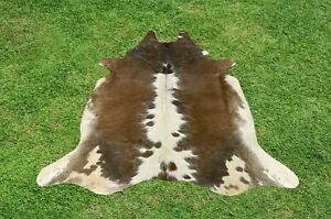 X Small Cowhide Rug Brown Real Hair on Cow Hide Skin Area Accent Rugs 4 x 3 ft