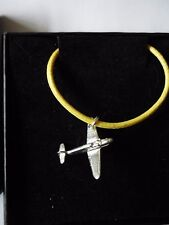 """Messerschmitt Bf 109 Aircraft c19 English Pewter On 18"""" Yellow Cord Necklace"""