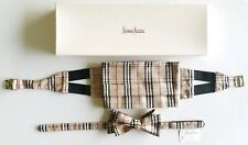 Burberry London Men's Silk Pleated Nova Check Cummerbund & Bowtie Set (Large)