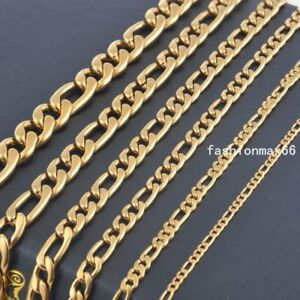 Wholesale In Bulk 3mm/5mm/7mm Yellow Gold Plated Stainless Steel Figaro Necklace
