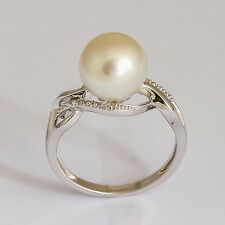 PEARL RING 9.7mm SOUTH SEA PEARL GENUINE DIAMONDS REAL 14K WHITE GOLD SIZE N NEW