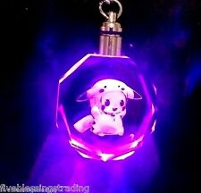 Pokemon character crystal multi-color  LED  Keychain - Pikachu