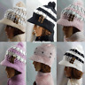 LADY WOMEN FASHION KNITTED WOOLY WINTER WARM HAT & SCARF WITH BUTTON DIFF COLOR