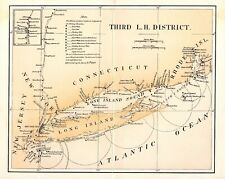 Original 1880 Chart of Lighthouses in NY Bay, Hudson River, L.I.Sound, CT & RI.