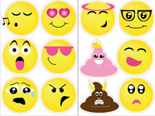 "EMOJI wall stickers 12 big decals teen decor phone text faces EMOTICON 4"" poop"