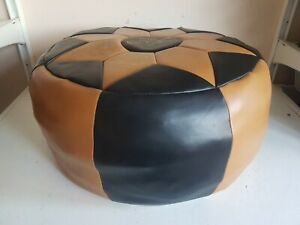 Old Round Black + Tan Faux Leather w Cyprus Design Pouffe Footstool Rest Ottoman