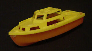 """Vintage Plastic Toy Boat Yellow Faded Red Orange 5"""" x 2"""" x 1 3/4"""" Cabin Cruiser"""