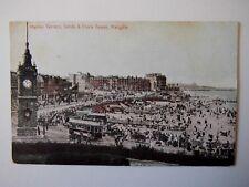 Marine Terrace Sands & Clock Tower Margate Shows Tram Old Postcard Munns