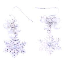 Congelada perla blanca copo de nieve pendientes impresionante navidad accesorio