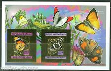 CHAD  2013 BUTTERFLIES  GOLD FOIL COLLECTIVE SHEETLET OF TWO IMPRF   MINT NH