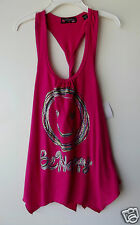 """Tempted Girls Fuchsia """"Be Happy"""" Twisted Racer-Back Tank Top NWT size 5 G82746"""