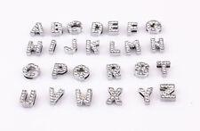 Alphabet Letter Slider Rhinestone Beads Fit 8mm Belt Leather Bracelets 26pcs