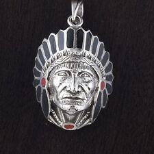 Mens 925 Sterling Silver Big Large Apache Head Chief Black 33mm Pendant