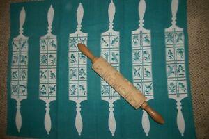 Vintage W. Germany lot of Springerle Carved Imprint Rolling Pin + same Tea Towel