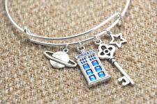 Doctor Who inspired bracelet Planet TARDIS Key star charm bangle bracelet