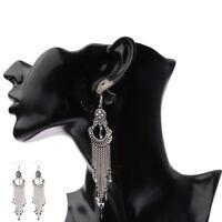 Women's Vintage Bohemian Boho Style Silver Long Tassel Drop Dangle Earrings Hot