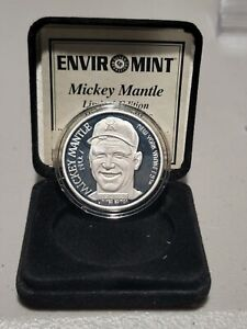 1995 MICKEY MANTLE ENVIROMINT LIMITED EDITION .999 1 TROY OZ FINE SILVER COIN