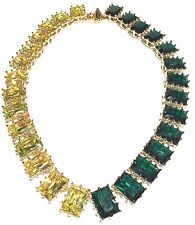 EDDIE BORGO NEW ESTATE LARGE FACETED GLASS CRYSTAL GOLD TONE STATEMENT NECKLACE