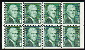 1278a 1c Jefferson miscut booklet pane wide right MNH