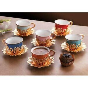Turkish Tea Coffee Saucers 12 piece set Cups Set Multicoloured Gold Luxury