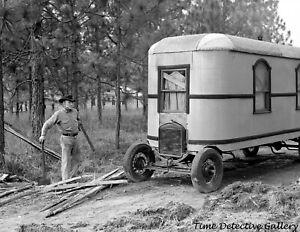 A Homemade House Car / RV, Alexandria, Louisiana - 1940 - Vintage Photo Print